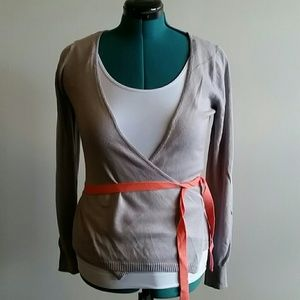 EUC grey wrap sweater with coral belt size m